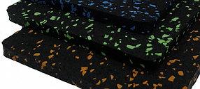 Резино-каучуковые покрытия 6 мм чёрный, с цветными вкраплениями