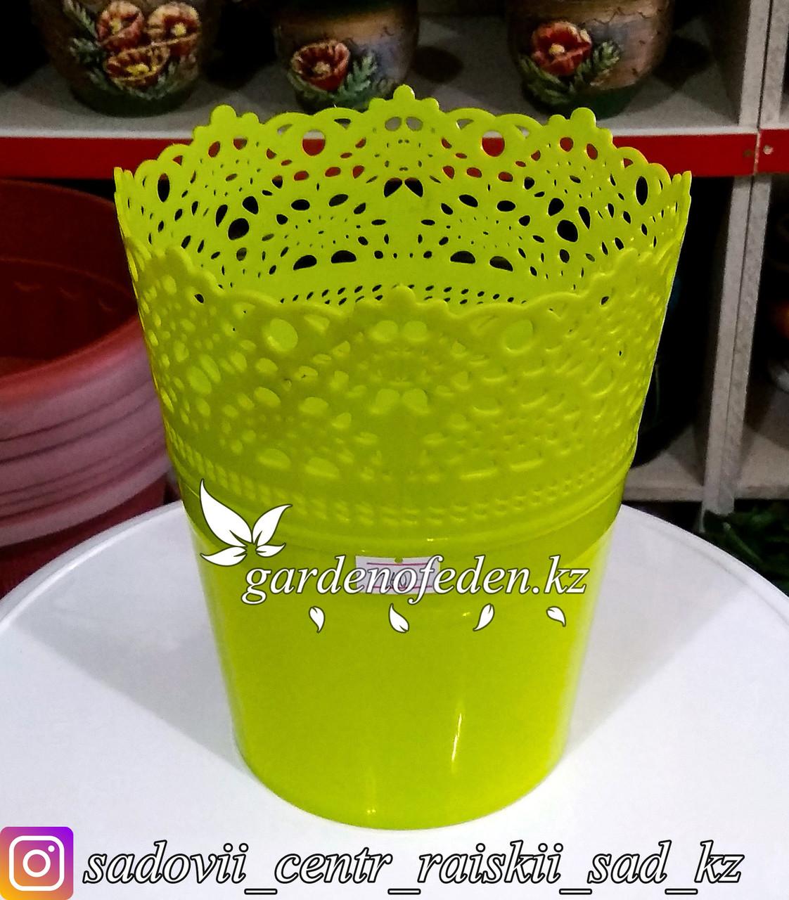"""Пластиковое кашпо """"Ажур"""". Цвет: Зеленый. Объем: 1.5л"""