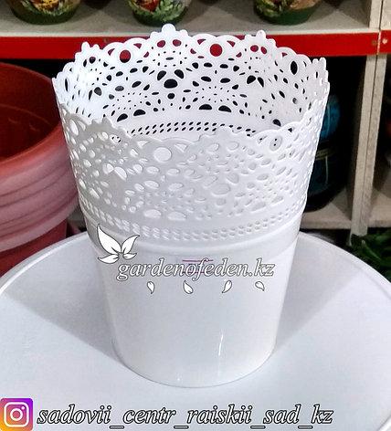 """Пластиковое кашпо """"Ажур"""". Цвет: Белый. Объем: 1.5л, фото 2"""
