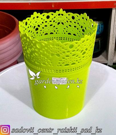 """Пластиковое кашпо """"Ажур"""". Цвет: Зеленый. Объем: 1л, фото 2"""
