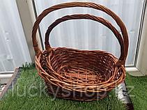 Корзина плетеная из ивовой лозы белый/коричневый, фото 2