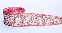 Декоративная лента для одежды, широкая, красно-белая, 4.5 см