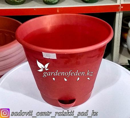 """Пластиковый горшок с прикорневым поливом """"Мадера"""". Цвет: Красный. Объем: 1.5л, фото 2"""