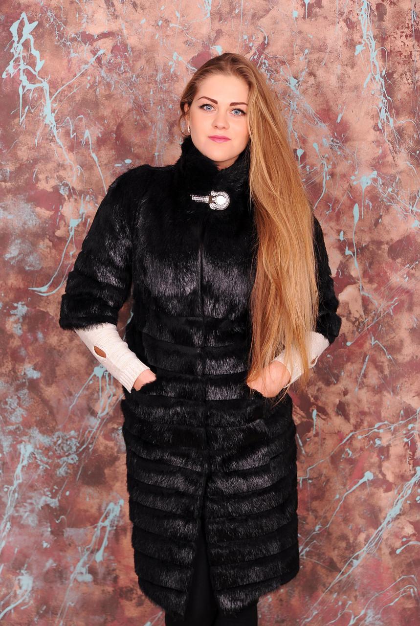 Женская шуба с фигурной стрижкой, натуральный мех - фото 3