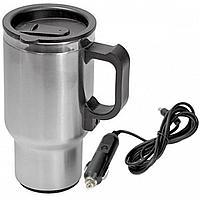 Термокружка (чайник автомобильный) с подогревом, нержавейка/пластик, 450 мл, 12V/24W