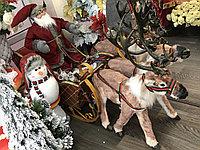 Санта клаус в санях с 3 оленями