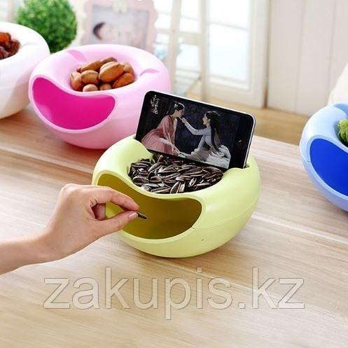Двойная тарелка с отсеком для шелухи и косточек и подставкой для телефона