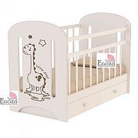 Кровать детская ВДК DINO с маятником и ящиком слоновая кость