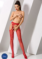 Чулки красные кружевные с имитацией пояса