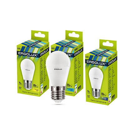 Эл. лампа светодиодная Ergolux G45/6500K/E27/9Вт, Дневной, фото 2