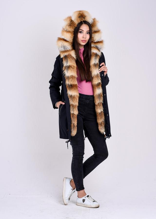 Синяя зимняя куртка парка с мехом лисы фото