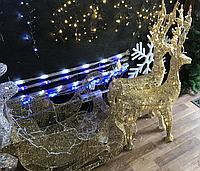 Светящаяся фигура сани запряженные оленями большая, фото 1