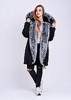 Черная куртка парка с зимним мехом песца