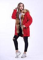 Красная зимняя парка с мехом степной лисы