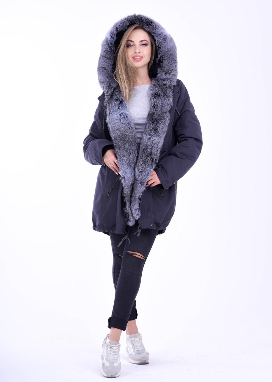 Женская куртка парка с натуральным мехом   интернет магазин BG-Furs