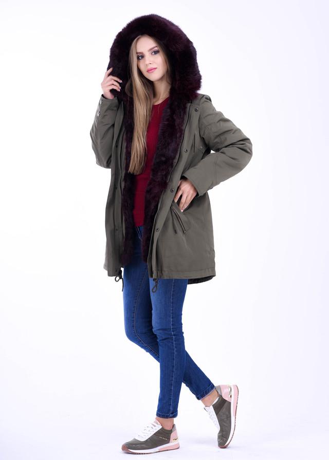 Женская куртка парка ХАКИ с натуральным мехом ФОТО