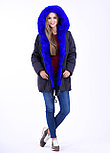 Зимняя меховая куртка парка яркого цвета синий электрик, фото 4