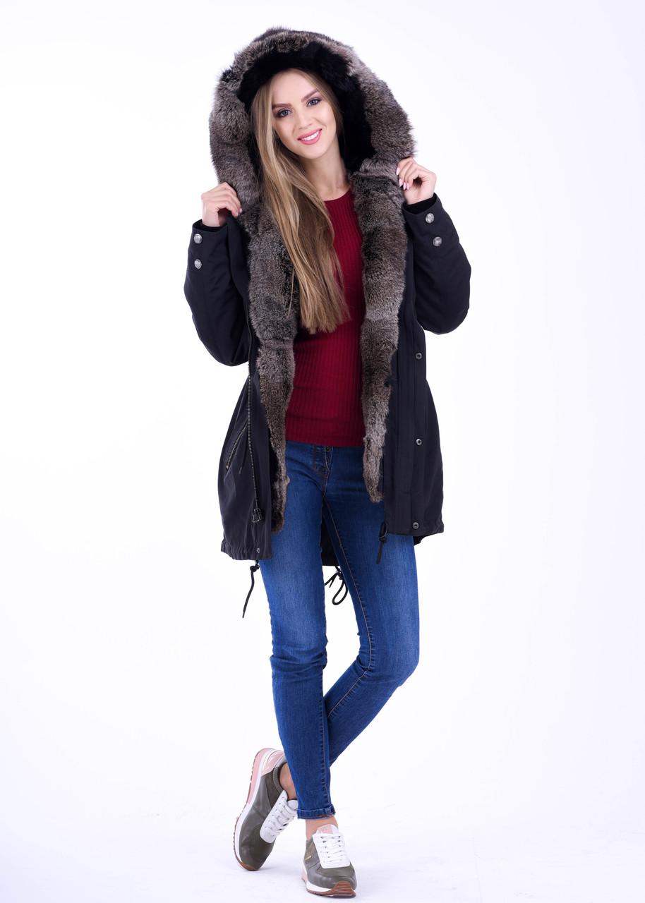 Черная куртка парка с мелированным мехом кролика