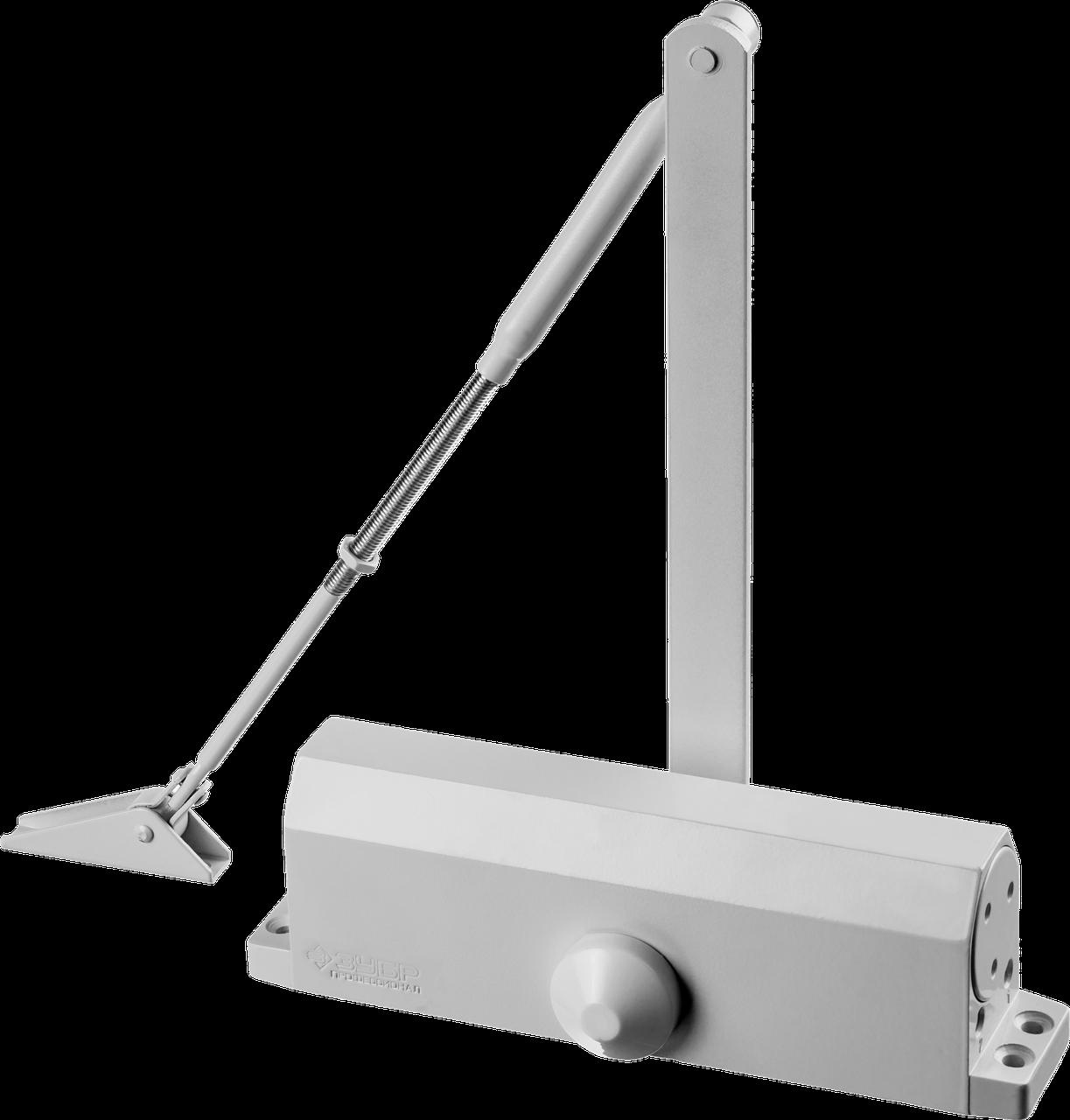 Доводчик дверной ЗУБР, для дверей массой до 100кг (белый)