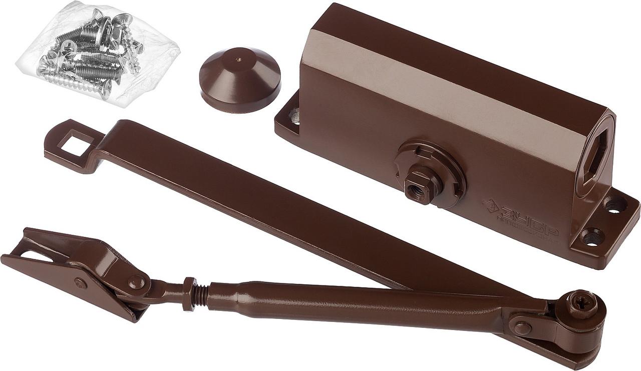 Доводчик дверной ЗУБР, для дверей массой до 80кг (коричневый)