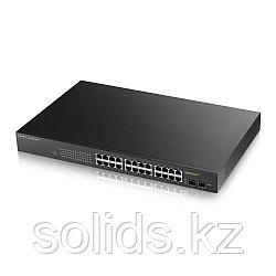 Smart коммутатор PoE+ Zyxel GS1900-24HP, 24xGE PoE+, 2xSFP, бюджет PoE 170 Вт