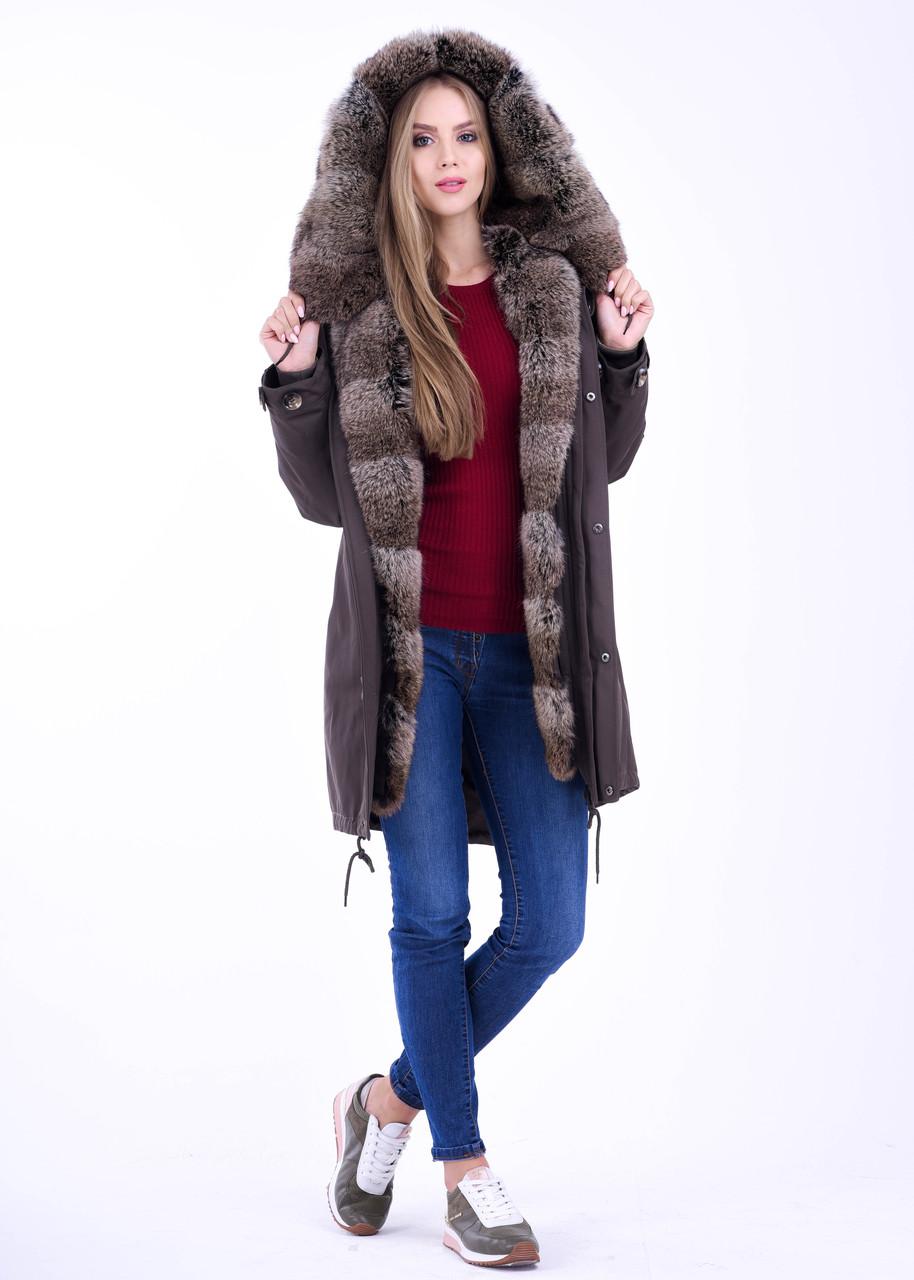 Стильная молодежная куртка парка с натуральным мехом кролика