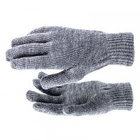 Перчатки трикотажные, акрил, цвет: чёрный, двойная манжета, Россия. СИБРТЕХ