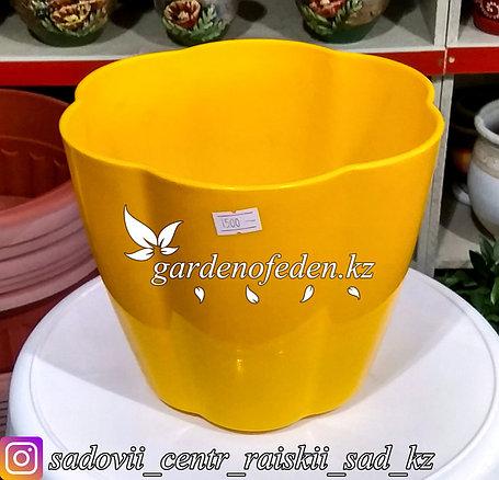 """Горшок пластиковый """"Ludu"""". Цвет: Желтый. Объем: 3л., фото 2"""