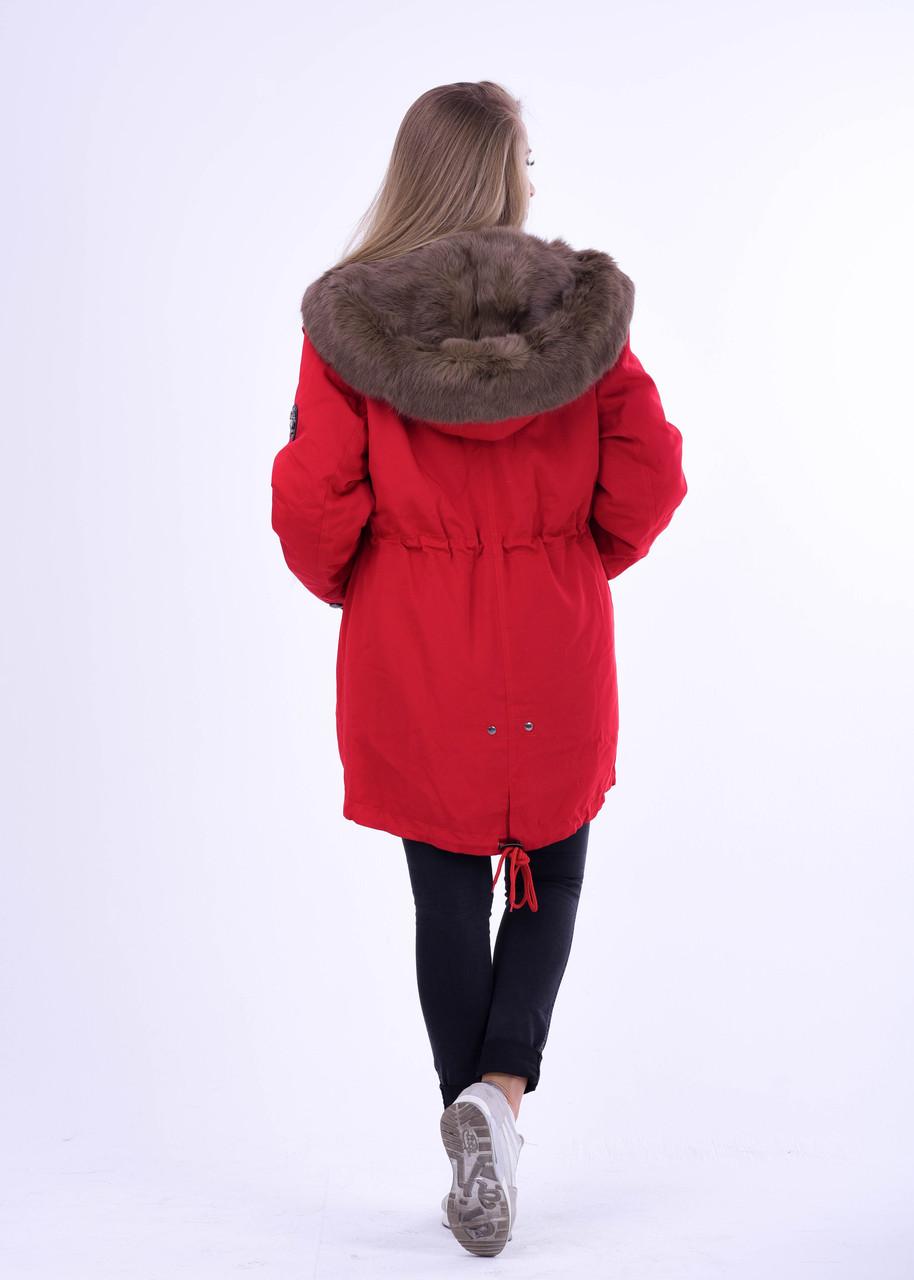 Женская зимняя парка с мехом кролика, ярко красного цвета