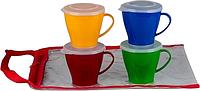 SOLARIS S1404 набор посуды: 4 чашки 0,36л с крышками