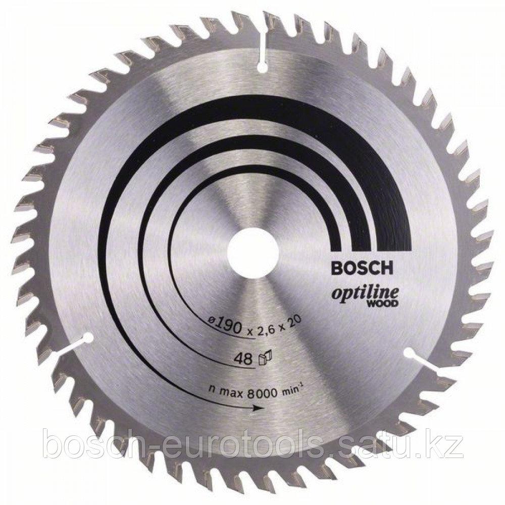 Пильный диск Optiline Wood 190 x 20/16 x 2,6 mm, 48 в Казахстане
