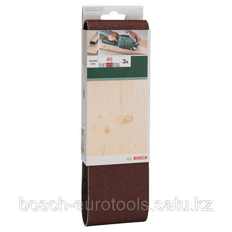 Набор из 3 шлифлент для ленточных шлифмашин Bosch, «красное» качество 80, без отверстий, на зажимах в Казахстане, фото 2