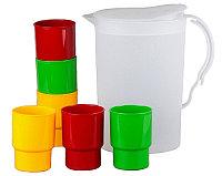 Набор посуды SOLARIS S1603: 6 стаканов 0,25л в кувшине