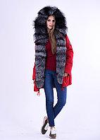 Алая куртка парка для Казахстнаской зимы с чернобуркой