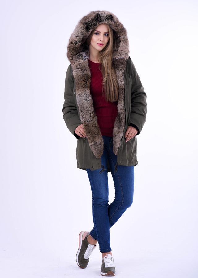 Парка ХАКИ с мехом, зимняя курточка