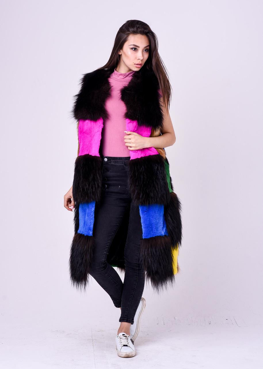 Длинная разноцветная меховая безрукавка для модниц Казахстана - фото 3