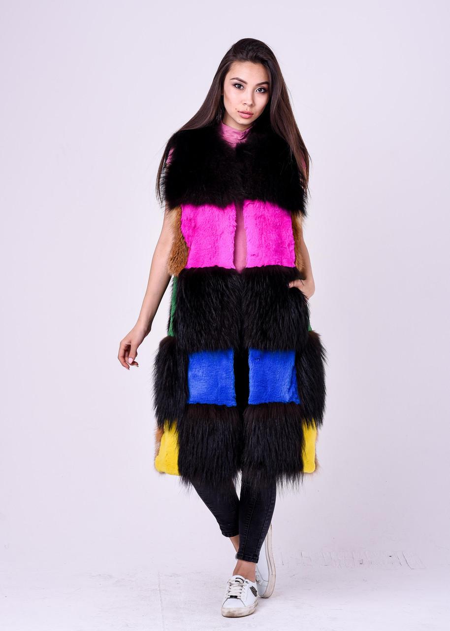 Длинная разноцветная меховая безрукавка для модниц Казахстана - фото 2