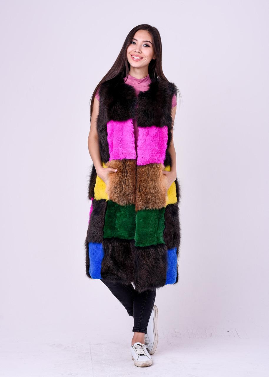 Длинная разноцветная меховая безрукавка для модниц Казахстана