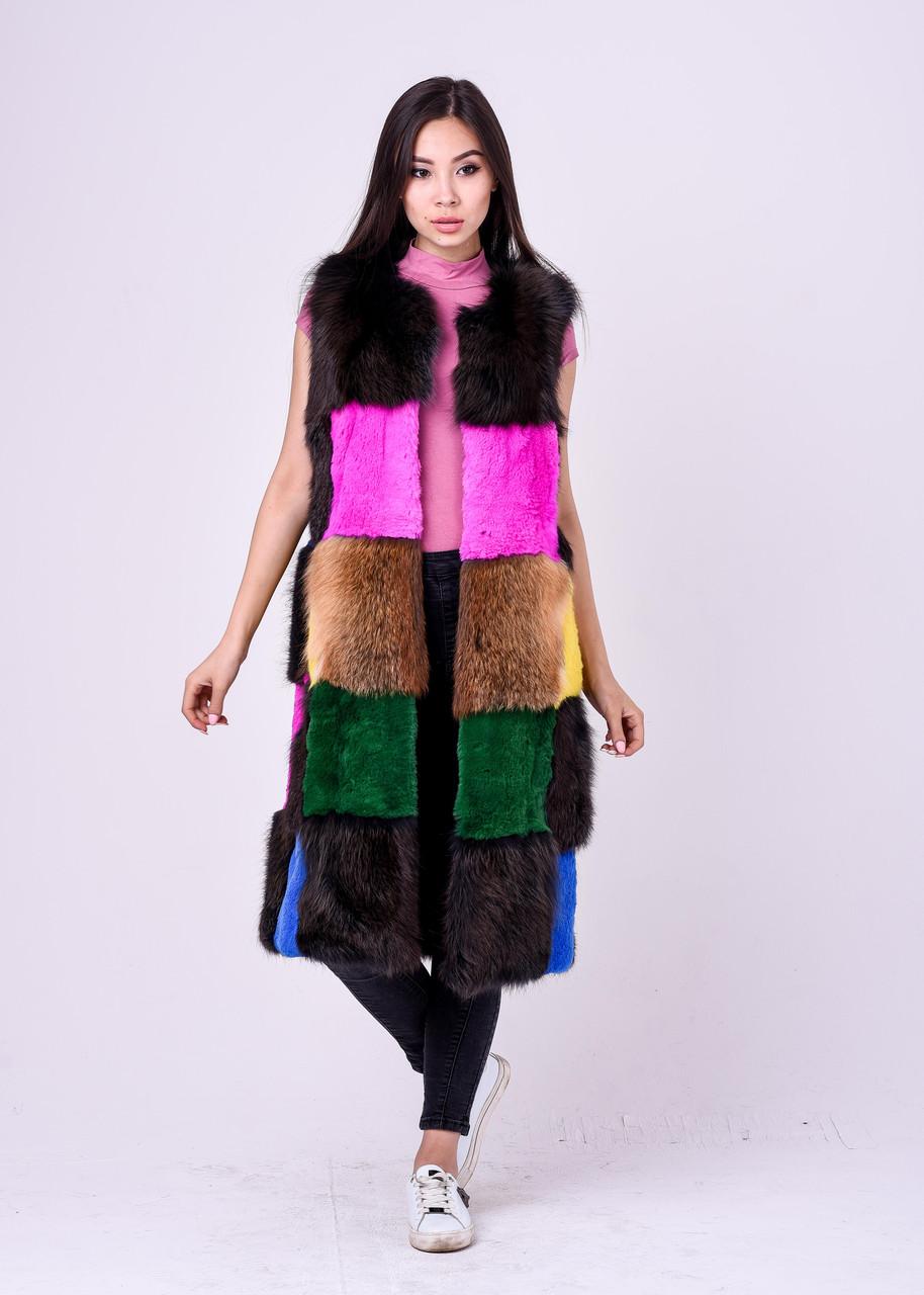 Длинная разноцветная меховая безрукавка для модниц Казахстана - фото 4