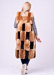 Длинная комбинированная меховая жилетка из лисы и плюшевой нутрии, фото 3