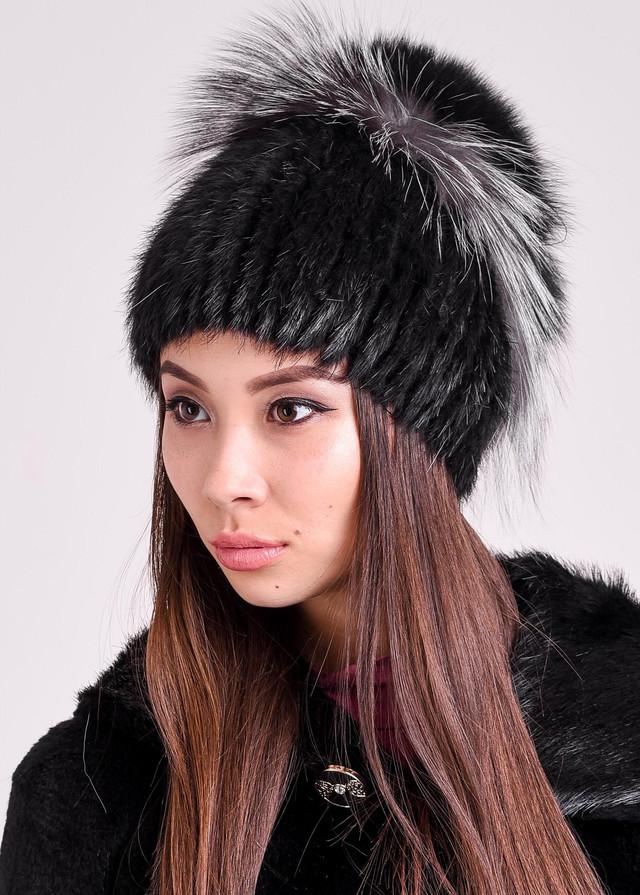 Женская меховая шапка черная Казахстан