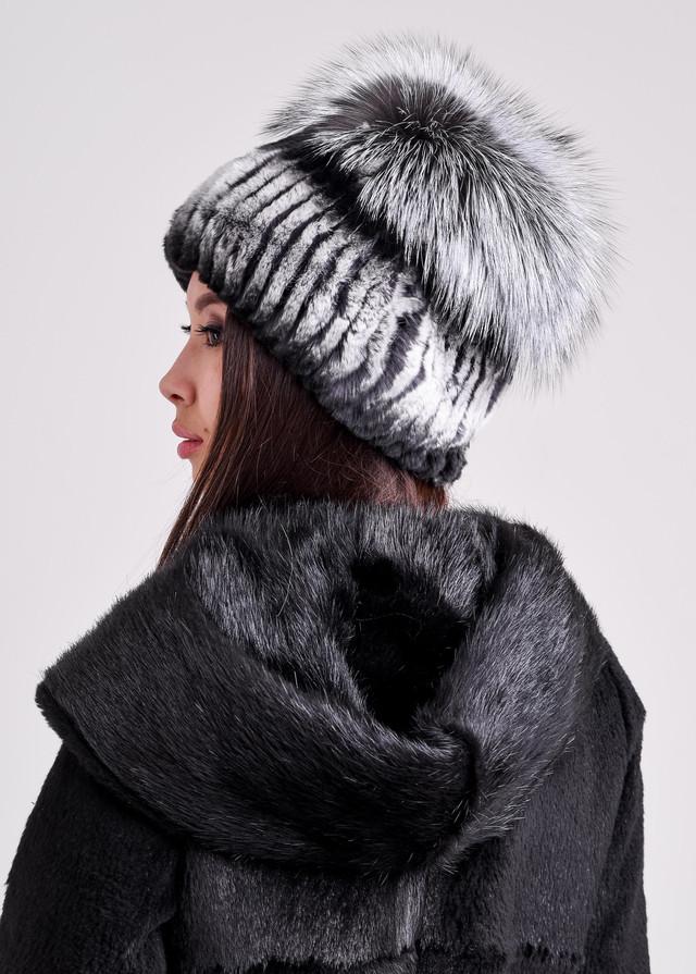 Меховая шапка для женщин из кролика рекс казахстан