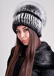 Женская шапка из натурального меха кролика РЕКС