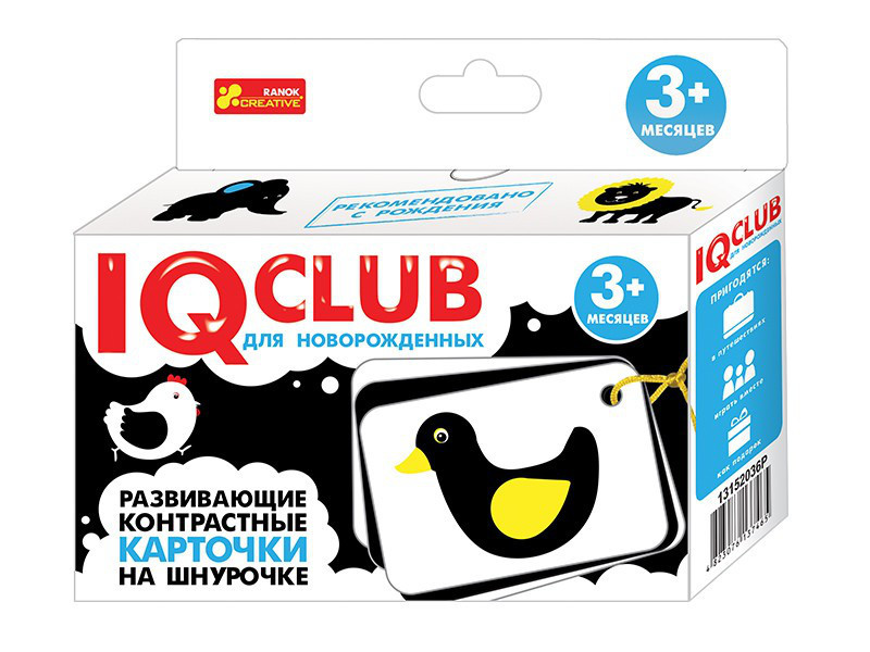 """Ranok 13152036Р """"IQ Club"""" Контрастные карточки на шнуровке Животные (для новорожденных)"""