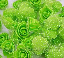 Розочки из фоамирана с сеточкой.Салатовые. 3,5 см.  Creativ 2354