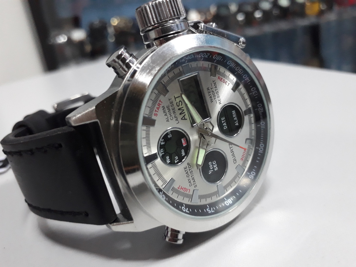 """Мужские часы """"AMST"""" - отличный подарок! Кожаный ремешок!"""