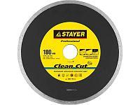 Clean Cut 180 мм, диск алмазный отрезной сплошной по керамограниту, мрамору, плитке, STAYER Professional