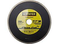 Clean Cut 200 мм, диск алмазный отрезной сплошной по керамограниту, мрамору, плитке, STAYER Professional