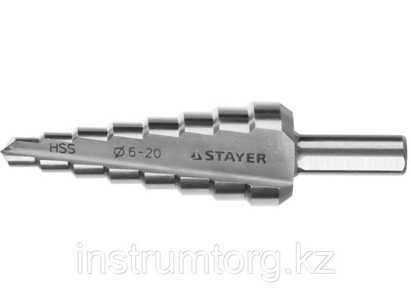 STAYER 6-28мм, 8 ступеней, сверло ступенчатое, сталь HSS