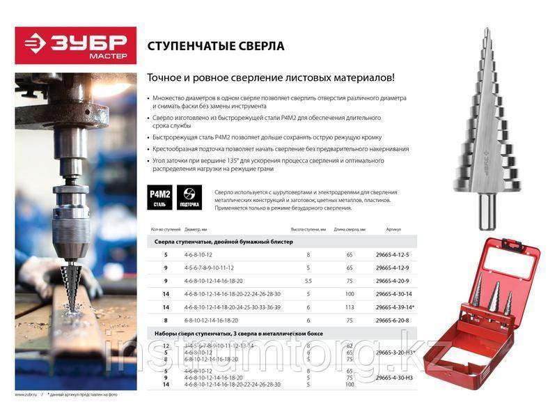 ЗУБР 4-12мм, 5 ступеней, сверло ступенчатое, сталь Р4М2